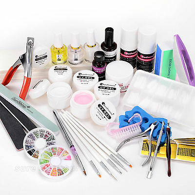 Kit manucure ongles faux Gel uv Resine acrylique glitter strass tip pinceau lime