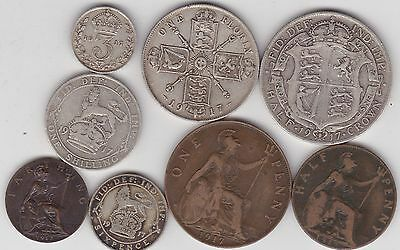 1917 George V Set Of 8 Coins In Good Fine Or Better Condition