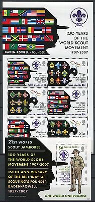 Turks & Caicos 2008 Pfadfinder Scouts Flaggen Flags 1870-1875 + Block 236 ** MNH