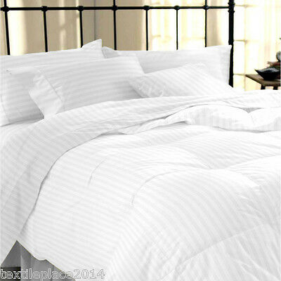 400TC Duvet Cover & Pillowcase 100% Egyptian Cotton White Satin Stripe Bedding