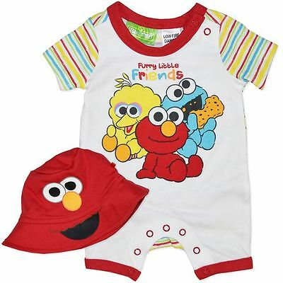 Baby Boy 2 Piece Elmo/Cookie/Big Bird (sesame street) Bodysuit Romper With Hat