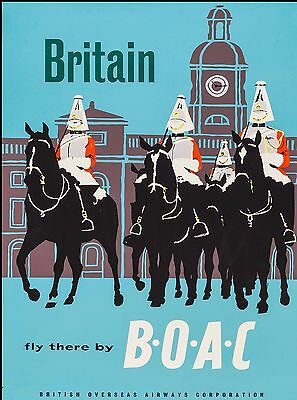 Britain Fly There England Great Britain Vintage Travel Advertisement Art Poster