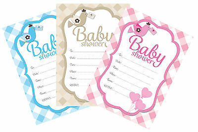 Baby shower invitations, pack of 16, pink, blue or neutral check designs