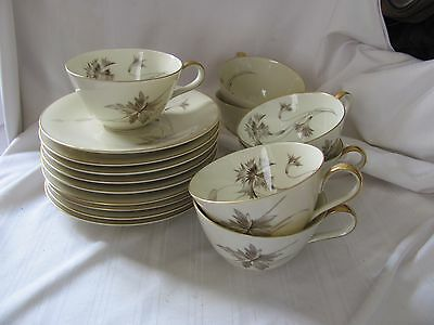 Heinrich Selb Bavaria Germany Sepia Ivory Gold 7 cups 9 saucers