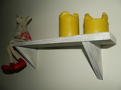 Vintage/Shabby chic/ country style rustic distressed white wash solid wood shelf