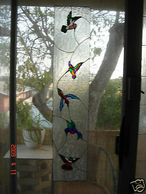 faux stained glass hummingbird sidelight window cling
