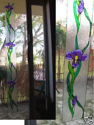 faux stained glass Iris sidelight window cling