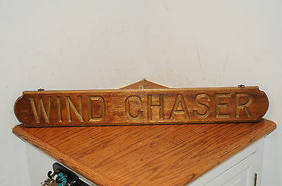 Vintage Boat Yacht Sign Plaque Maritime Gold Painted Letters on Wood Wind Chaser
