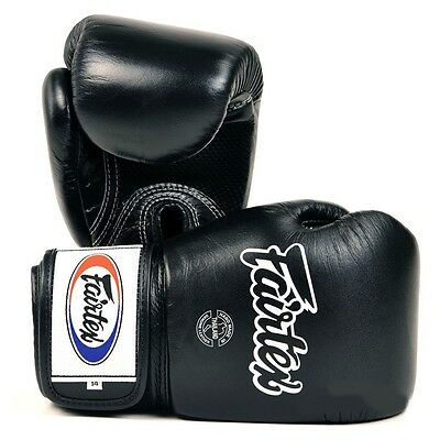 Fairtex Breathable Muay Thai Boxing Gloves Sparring MMA Kickboxing Leather Black