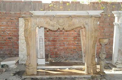 Hand Carved French Rococo Marble Fireplace Mantel, Beige Marble