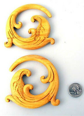 Pair of Organic Hand Carved Spiral Tribal Taper Ear Plug Hangers Gauge Rare E258