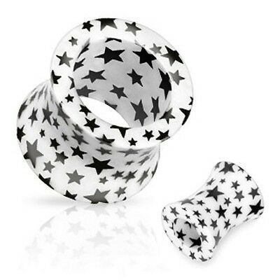 Pair of Acrylic Black Stars Double Flare Hollow Plugs Tunnels Earlets E404