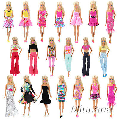 10 Sets Bundle Random Fashion Lovely Handmade Clothes/Outfits For Barbie Doll