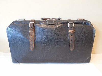 Antique BLACK LEATHER Suitcase LUGGAGE Travel BAG w Strapping Leather STEAMPUNK