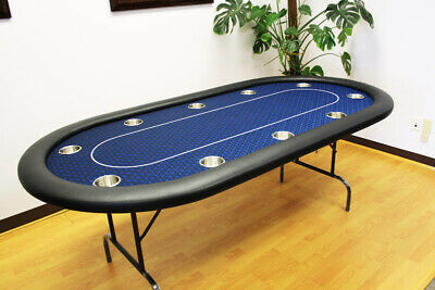 "10 Players Full Size 84"" Texas Holdem Poker Table / Folding Leg Black Speed Felt"