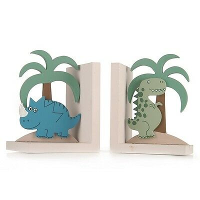 Dinosaur Bookends Kids Boys Childrens Bedroom Wooden Shelf Decoration