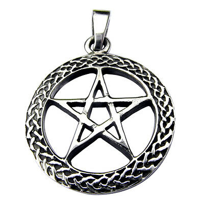 Sterling Silver (925)  Pentagram  In  Celtic  Circle  Pendant    !!      New !