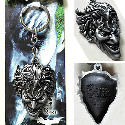 The Batman Joker character Head portrait 3D silver 6cm Metal Keychain ring New