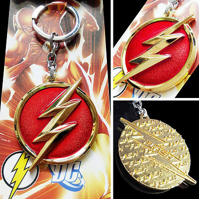 DC Comics The Flash lightning Logo Red Gold 6cm Metal Keychain Keyring New