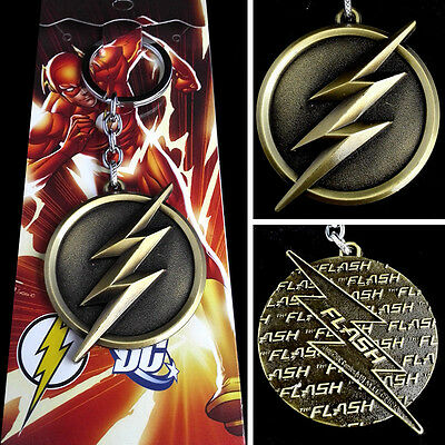 DC Comics The Flash lightning Logo Gold 6cm Metal Keychain Keyring New Hot