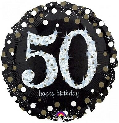 Party Supplies Birthday 50th Sparkling Holographic 45cm foil Balloon
