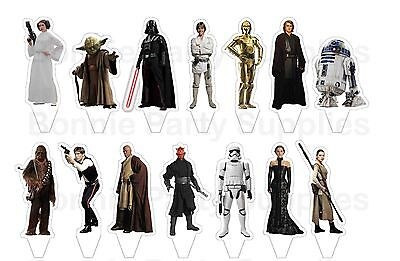 14 Star Wars Force Stand Up Edible Wafer Thick Card cupcake cake toppers PRE CUT