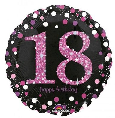 Party Supplies  Birthday 18th  Pink Sparkling Holographic 45cm foil Balloon