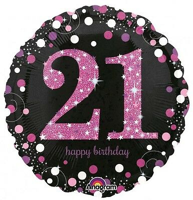 Party Supplies  Birthday 21st Pink Sparkling Holographic 45cm foil Balloon