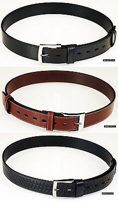 Thick Full Grain Bullhide Leather Casual Basketweave Gun Holster Stitched Belts
