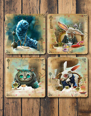 Alice In Wonderland Coasters Set of 4 Great Gift Idea For Alice Fans