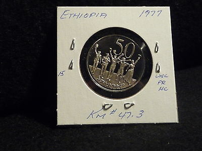Ethiopia:  1977   50 Cents   Coin  Gem  Proof Hc  (Unc.)    (#5)  Km # 47.3