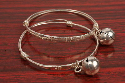 Cute Baby Jewelry 2 Small Anklets with Bell Thai 925 Sterling Silver Bracelet