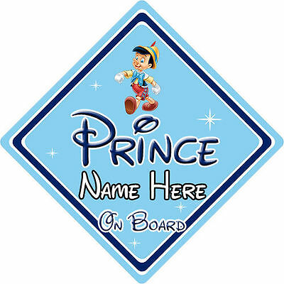 Personalised Disney Prince On Board Car Sign - Baby On Board - Pinocchio