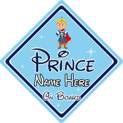Personalised Disney Prince On Board Car Sign - Baby On Board Car Sign
