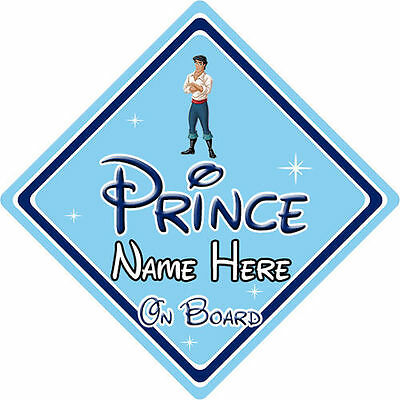 Personalised Disney Prince On Board Car Sign - Little Mermaid Prince Eric