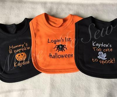 Personalised Baby FIRST Halloween fancy dress Bibs! Baby Ghost Spider pumpkin!