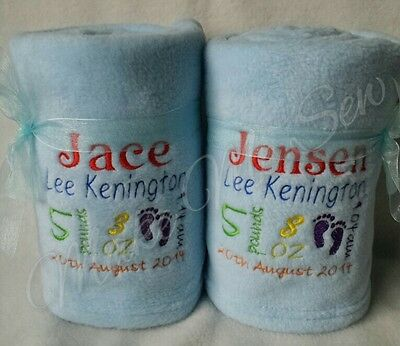 Twins Gift Personalised Baby Blanket Set X2 Newborn Name Date Weight Time