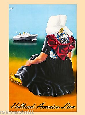 Holland America Line Netherlands Europe Travel Art Poster Advertisement