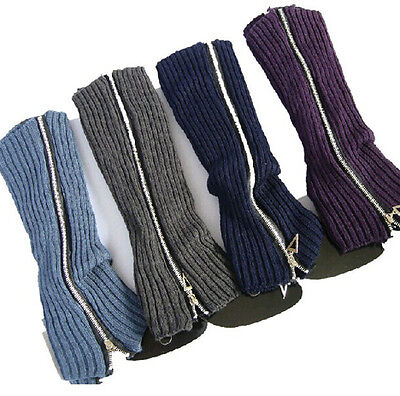 Women Winter Zipper Leg Warmer Gifts Knitted Socks Crochet Leggings Boot Toppers