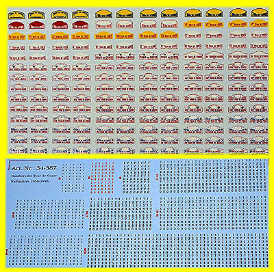 Tour de Corse Rallye Plates 1956-1998 Including small numbers 1:43 Decal Abziehb