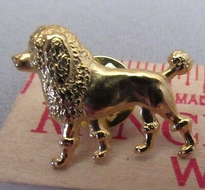 Poodle Gold Tone Dog  Lapel Pin 1/2 X 1 New