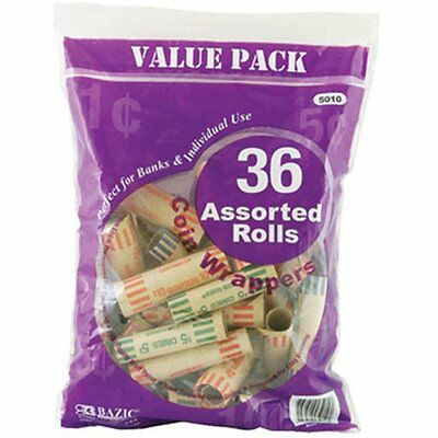 BAZIC Assorted Size Coin Wrappers 36 Per Pack