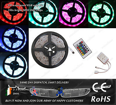 5M Waterproof 150x 5050 SMD House Office Garage Interior Exterior LED Strips 12V