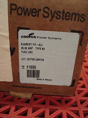 Lot of 25 Kearney FitAll Fuse Link KS 30A CAT. 21030 Cooper Power Systems  NEW