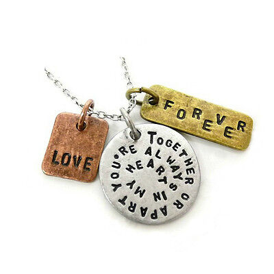 *uk* Antique Silver Plt 'together Or Apart Youre Always In My Heart' Necklace