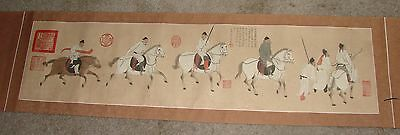 """Hand Painted Horizontal Chinese Scroll 70"""" X 15"""""""