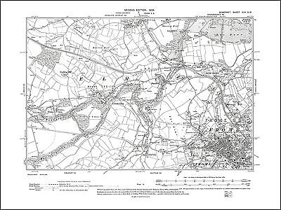 Frome NW, Great Elm, old map Somerset 1904: 30SW repro