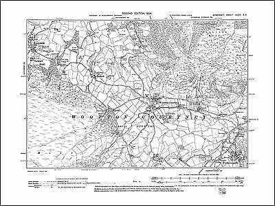 Wootton Courtney, Luccombe, Timberscombe, old map Somerset 1904: 34SE repro