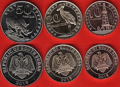 South Sudan set of 3 coins: 10 - 50 piasters 2015 UNC