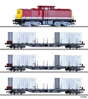 Tillig Set jetable BR108 avec Train transport de marchandises,Modèle de rails,DR